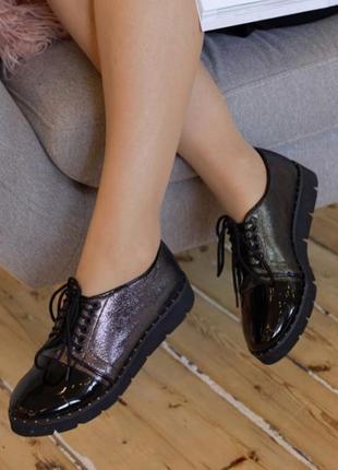 Женские натуральные туфли-оксфорды на шнурках, лаковые