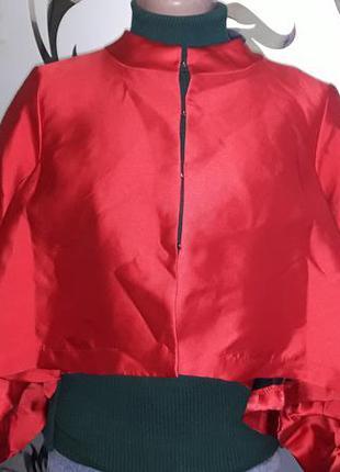 Женский красный укороченный пиджак-болеро, 44-46