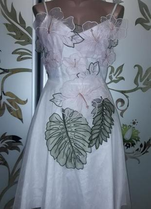 Женское фатиновое платье-сарафан с цветами, белое, 42