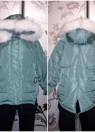 Женская куртка-курточка oversize, демисезонная, зеленая, 44-48