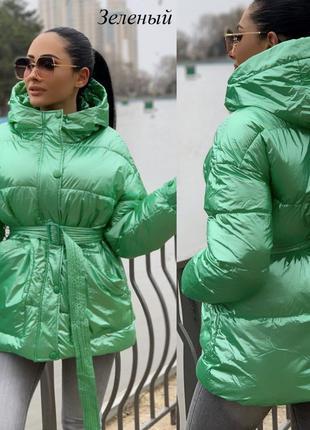 Женская весенняя курточка-куртка с поясом, демисезонная, зелен...