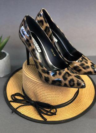 Женские леопардовые туфли-лодочки на узкую ногу, лаковые, 36-40