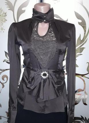 Женская кофточка-блуза с бантом и гипюром, коричневая, 40-42