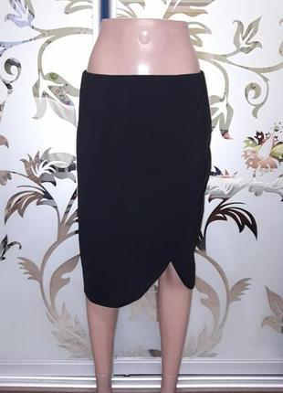 Женская трикотажная юбка-карандаш, черная, 46-48