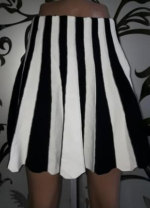 Женская черно-белая юбка-колокольчик, s-m