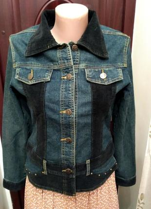 Джинсовый пиджак с вельветовыми вставками размер m