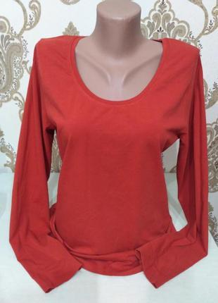 Терракотовый лонгслив, футболка с длинным рукавом размер xl