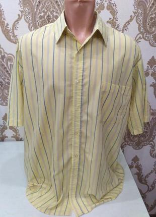 Жёлтая полосатая рубашка с коротким рукавом размер xl