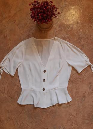 Трендовая шифоновая  белая блуза на пуговицах от topshop