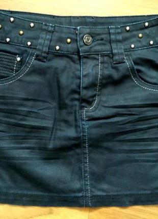 Джинсовая юбка с клёпками на рост 152 см