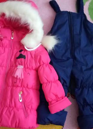 Красивые и теплые зимние комбинезоны для девочек