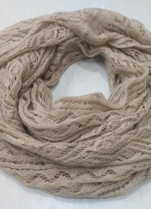 Бежевый ажурный хомут, шарф, снуд