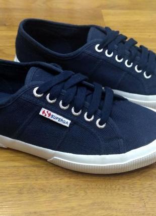 Унисекс! новые синие кеды superga 100% коттон, размер 39,5