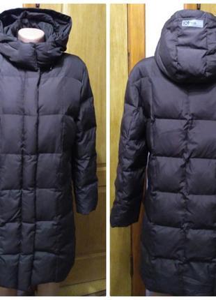 Коричневый натуральный пуховик пальто с капюшоном размер s-m