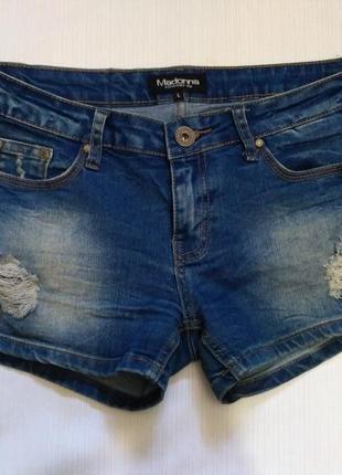 Джинсовые шорты с потертостями размер l