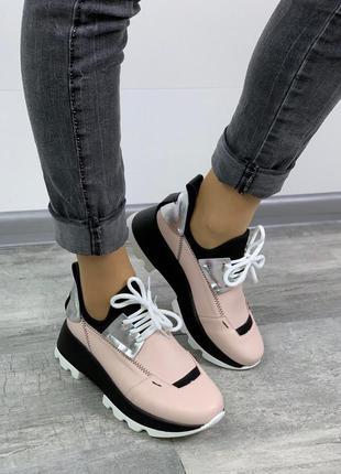 Стильные черно-розовые кроссовки на платформе