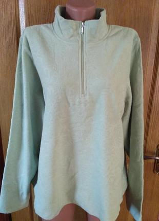 Теплый флисовый свитер denim co на короткой молнии размер 6xl