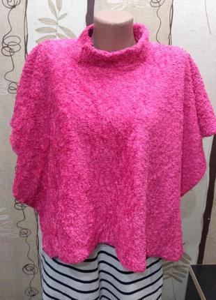 Розовое флисовое, плюшевое пончо