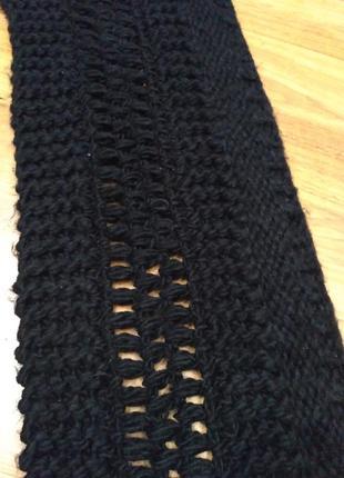 Черный длинный тёплый шарф