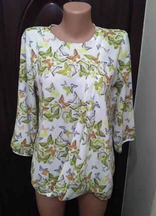 Свободная лёгкая блуза, блузка next в бабочках 12 размер
