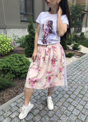 Легкая летняя юбка полусолнце