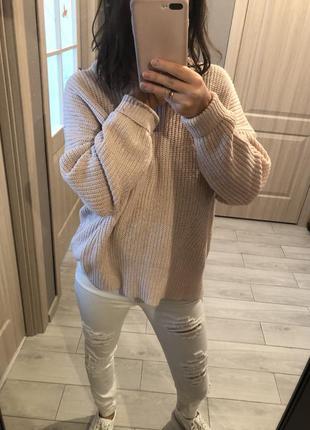 Тёплый свитер крупной вязки оversize