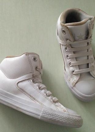 Converse! оригинал! кожаные белые кеды