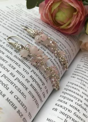 Серьги из натуральных камней, сережки, серьги грозди, серебро