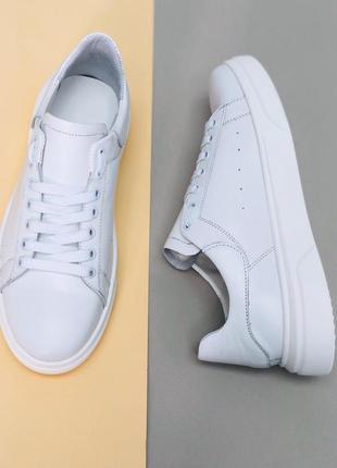 Белые мужские кожаные кеды
