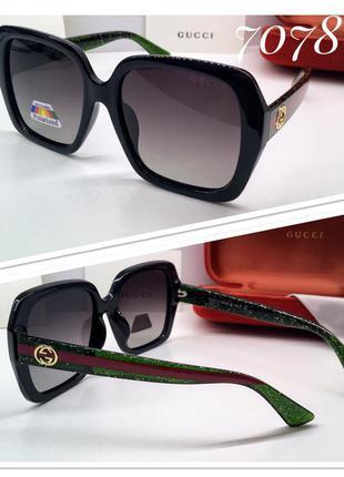 Женские солнцезащитные очки чёрные классика квадраты с поляриз...