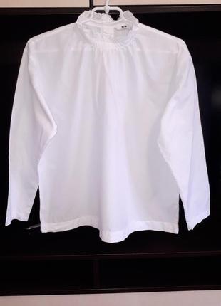 #розвантажуюсь/красивая белоснежная блузка с воротничком стойк...