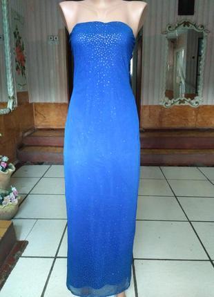 Сарафан в пол, стрейчевое платье бюстье размер м