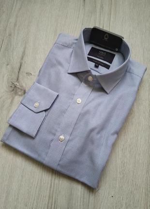 Рубашка marks & spencer с длинным рукавом приталенная размер 3...