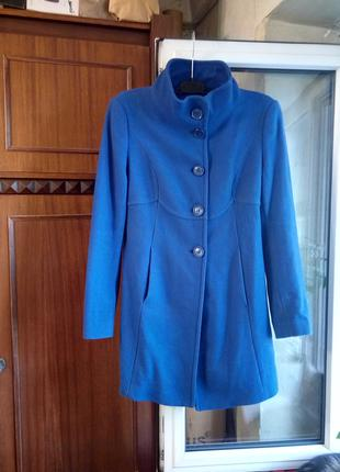 Пальто шерстяное синее United Colors of Benetton