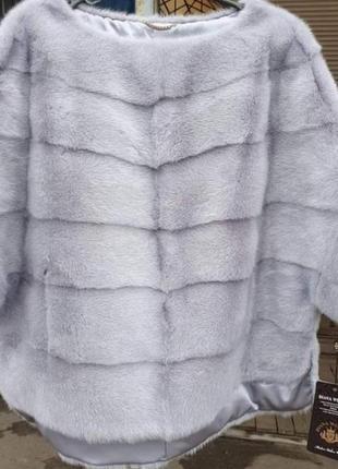 Бомбезный норковый свитер пончо