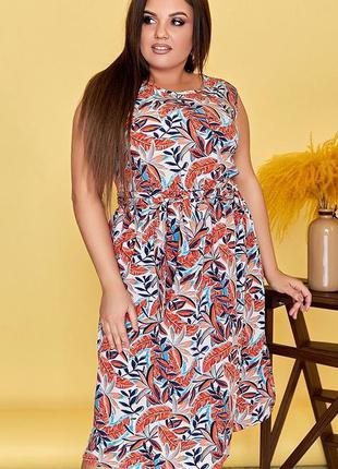 Шикарное весеннее платье цветы большие размеры