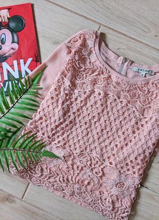 Красивая укороченная блуза блузка с кружевом свободного кроя m l