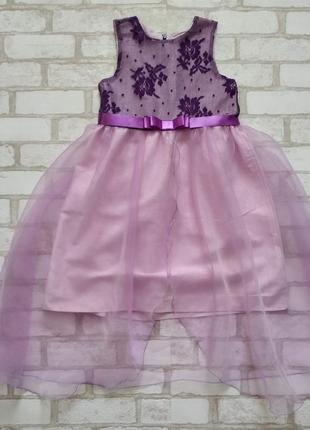 Нарядное платье на девочку гипюр сиреневое со шлейфом