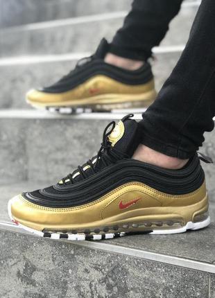Nike air max 97 black gold мужские кроссовки