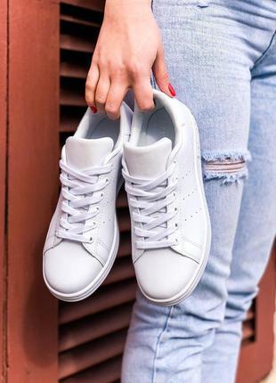 Adidas stan smith женские кожаные кроссовки адидас белый цвет ...