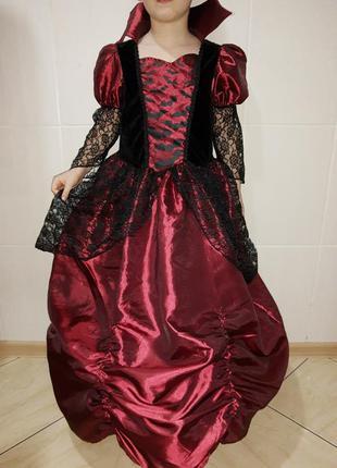 Красивое платье карнавальное на хэллоуин ведьмочка на 6-8 лет