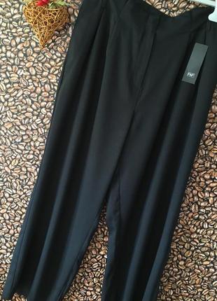 Чёрные прямые широкие брюки высокая талия