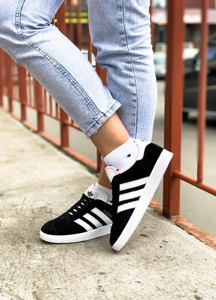 Adidas gazelle женские замшевые кроссовки адидас черный цвет (...