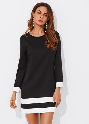 Черное короткое платье shein с длинным рукавом