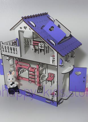 Деревянный домик Мини для кукол Лол и других+мебель в подарок!