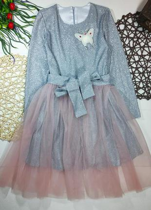 Красивенное платье с фатиновой юбкой накидкой