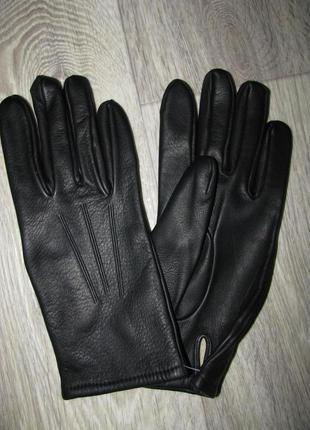 Перчатки кожаные 8 размер женские кожа черные