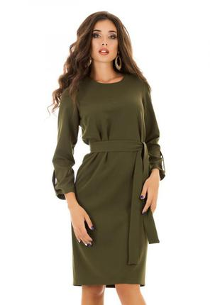 Базовое классическое платье миди хаки ниже колена весна-осень ...