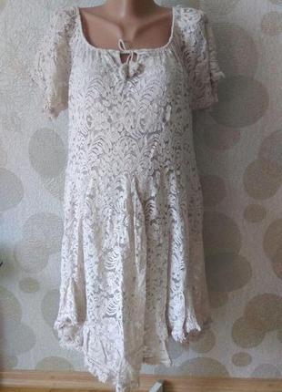 Кружевное платье туника в стиле бохо