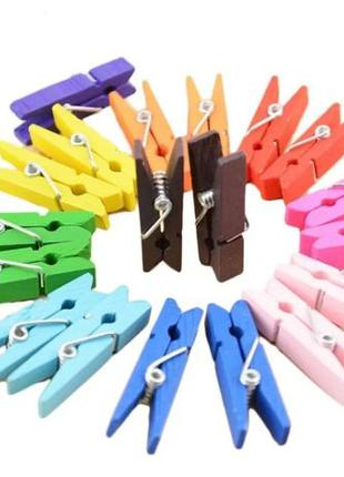 25шт. Разноцветные деревянные прищепки для домашнего декора.